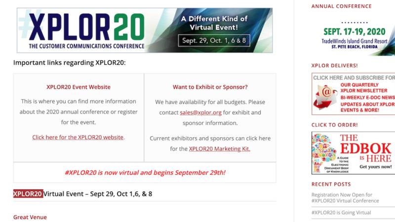Registration Now Open for #XPLOR20 Virtual Conference